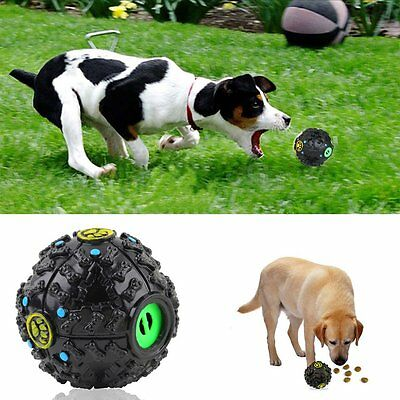 Pet Dog Cat Food Dispenser Squeaky Giggle Quack Sound Training Toy Chew Ball FG