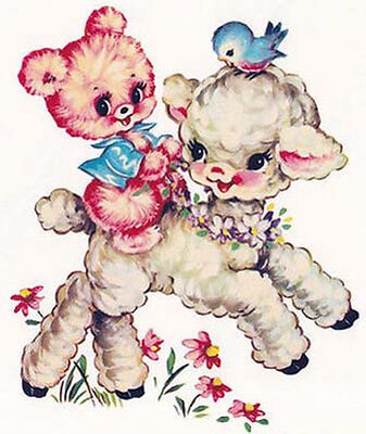 XL VinTaGe RePrO BeaRs & LamBs ShaBby WaTerSLiDe DeCALs~FurNiTuRe SiZe~