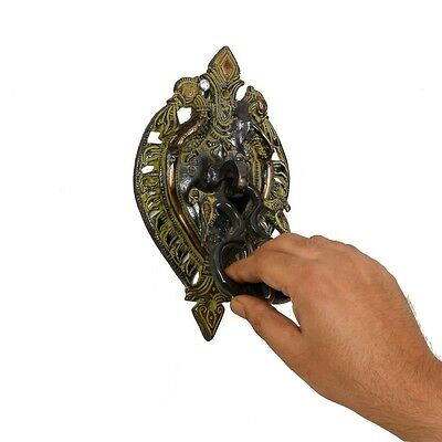 Antique Finish Brass Door Knocker Vintage Style Tibetan Art Door Handle Decor