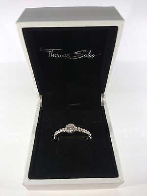 Thomas Sabo Sterling Silver Rose Gold Plated CZ Set Band Ring Size L