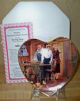 "(K) Heart shaped I Love Lucy Plate ""WANTED ""SPERIENCED CHICKEN FARMER"" NEW"
