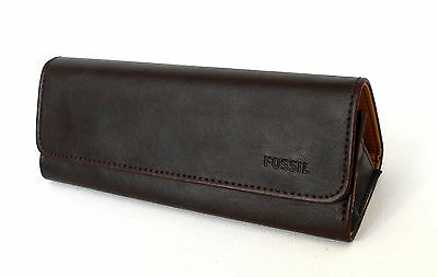Nwt Fossil Sunglasses Leather Fold Case, Logo, Brown