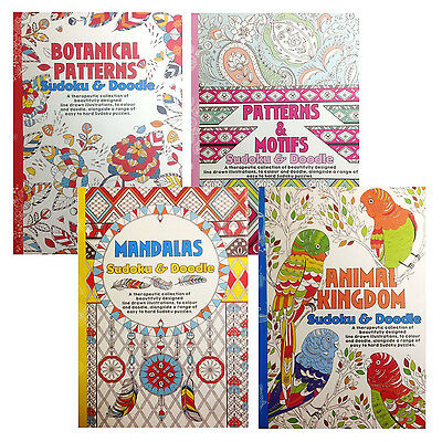 A5 Adult Colouring and Sudoku Puzzle Book Animals Motifs Mandalas or Botanical