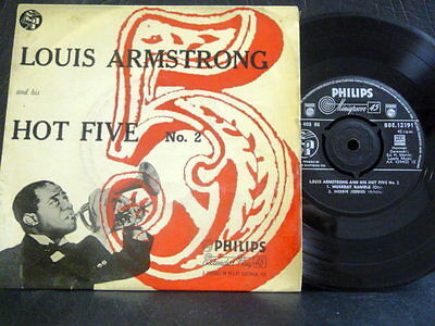 """LOUIS ARMSTRONG & HIS HOT FIVE E.P """" No 2 """" UK PHILIPS VG- COND.IN EX PIC SL."""