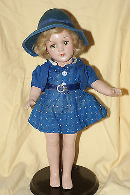 "Early Vintage Arranbee Composition 13"" Doll With Tin Eyes & Mohair Wig"