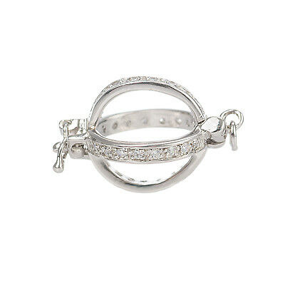 Sterling Silver - Rhodium Finish Pearl Shortner Clasp Cage 10mm With CZ Stones