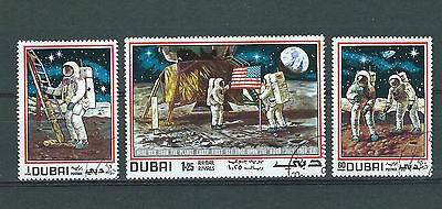 DUBAI   1969 FIRST MAN ON THE MOON set of 3  (Used) 2