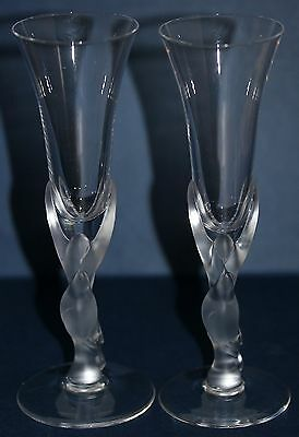 Vintage Faberge Snow Dove Crystal Cordial Glasses Set of 2 by Egor Faberge