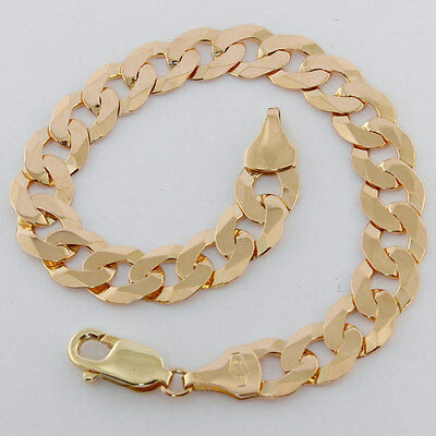 "Hallmarked 9ct Yellow Gold Classic Curb Link Bracelet 8.5"" RRP £560 {BU17}"