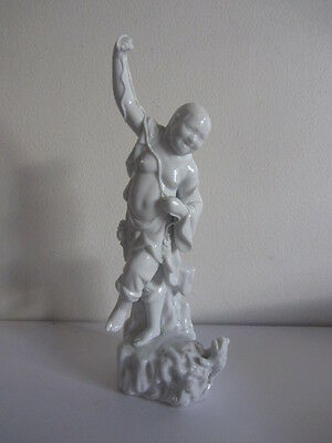 Antique Blanc De Chin Porcelain Chinese Fisherman Figurine Statue