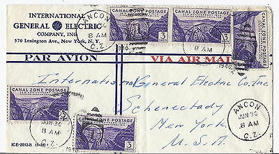 1940 Canal Zone Commercial Cover - General Electric GE - Ancon to NY*