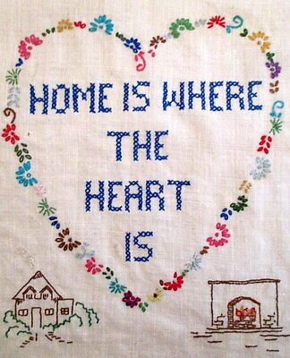 Vintage Completed Finished Sampler Home is Where The Heart Is House Fireplace