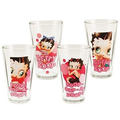 Betty Boop Four Piece 16 oz. Art Images and Quotes Glass Set, NEW UNUSED