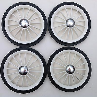 """Wheels   White Plastic Pack of 4 with 4 clip-ons ( 200 mm. 8""""  Rubber Tyre )"""