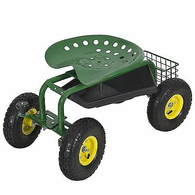 Rolling Garden Seat Stool Utility Gardening Cart Work With Tray