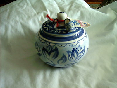 Delft Blue XL Sugar Bowl w-Lid Pottery
