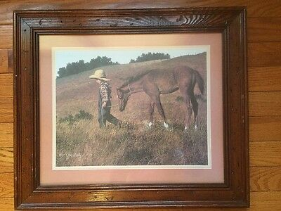 "Horse Art ""Heading Home"" Boy And Colt Jim Daly Artist Framed Americana Print"