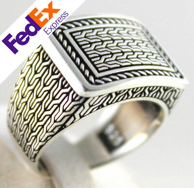 Luxury 925 Sterling SILVER Special Turkish Handmade Men Ring All Sizes
