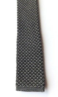 Vintage 1950/60s KNITTED SKINNY NECK TIE Silver and Black MOD SCOOTER FREE P&P