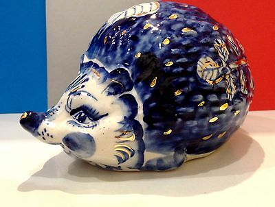 Hedgehog porcelain Gzhel large figurine Russia hand painted gold collectible