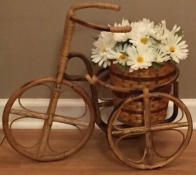 Tricycle Planter w/ Wicker Basket Rattan w/ White Daisy Silk Flowers