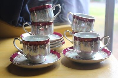 vintage cups and saucers  set of 6  pearl lustre gold gilt