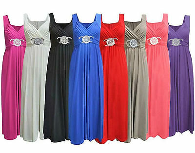 New Womens Ladies Bridesmaid Cocktail Evening Prom Buckle Plus Size Maxi Dress