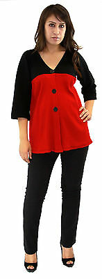 Red Long Sleeve Black Button Black Soft Womens Maternity Blouse Contrast