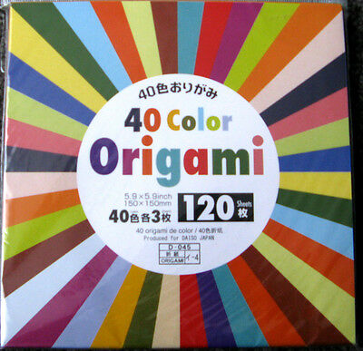 120 Sheets ORIGAMI PAPER SINGLE SIDED  40 Colours 150mm x150mm  Made in Japan