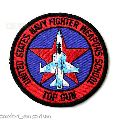 US NAVY WEAPONS SCHOOL TOP GUN SQUADRON EMBROIDERED PATCH 4 inches