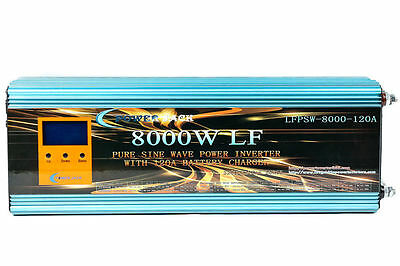 8000W Lf Pure Sine Wave Power Inverter Dc 12V To Ac 230V,charge,usp,lcd,no Tax