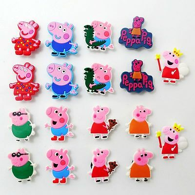 18pcs/set Kids Girls Cartoon Pink Pigs Shoe Charms Fit Jibbit&Croc Wristbands