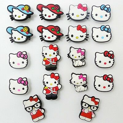 18pcs/set Kids Girls Gift Cartoon KT Cats Shoe Charms Fit Jibbit&Croc Wristbands