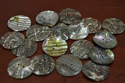 10 Pcs Round Abalone Shell Sewing Two Holes Buttons 30Mm #t-434