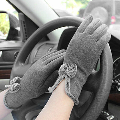 Women Double Layer Bowknot Touch Screen Female Gloves Outdoor Wrist Mittens AU