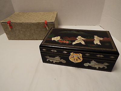 Vtg Oriental Black Lacquer Jewelry Box w/ Mother of Pearl Inlay & Lock & Key