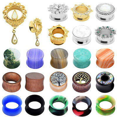 1Pair Ear Gauges Silicone&Wood&Stone Flesh Tunnel Stretch Plugs Screw Kit Saddle