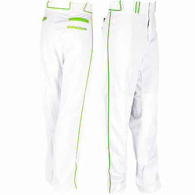 Combat Stock Adult Baseball/Softball Pant with Neon Piping - White/Green - XL