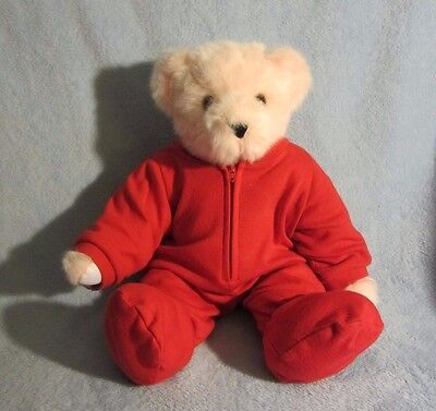 """Vermont Pink Teddy Bear Hope Breast Cancer Awareness Jointed Red Pajamas 15"""""""