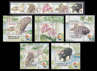 Philippines Stamps 2001 MNH Flora & Fauna complete set with 5 S/S