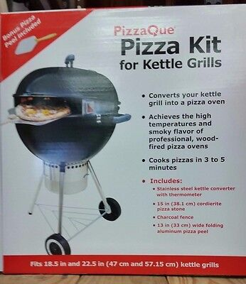 "NEW PizzaQue Deluxe Kettle Grill Pizza Kit for 18"" & 22.5"" Kettle Grills"