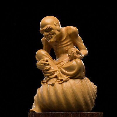 D032 - 10.5*8*6 CM Stunning Boxwood Carving: Monk Luo Han On Snail