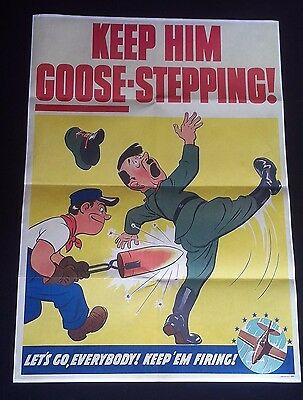1944 Ww2 Usa America Anti Nazi Hitler Cartoon Comic Aircraft   Propaganda Poster