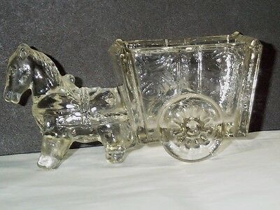 "Vintage Clear Glass Open Salt Toothpick or Match Holder Horse Drawn Cart 2"" Tall"