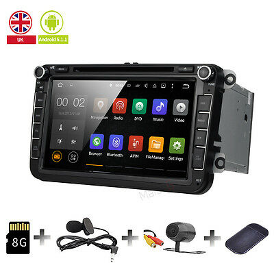 "Android 5.1 GPS OBD2 DAB+ Radio WiFi 3G SD 8"" Car DVD Player For VW MK6 2013 UK"