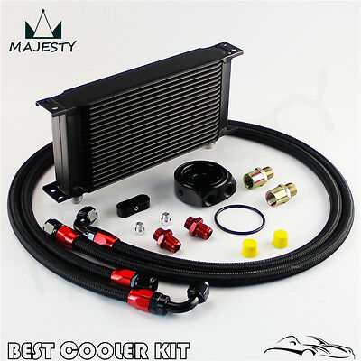 19 Row AN-8/ 8AN Engine Oil Cooler w/ Nylon Oil Lines + Filter Adapter Kit Black