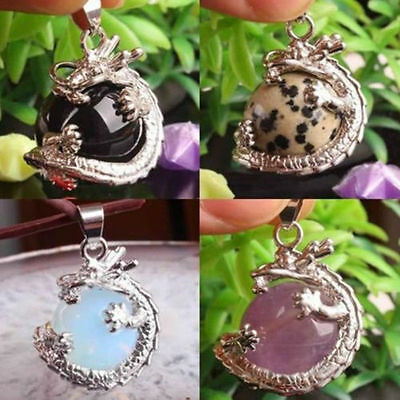 Natural Crystal Hexagonal Gemstone Dragon Punk Pendant Jewelry no Necklace Chain