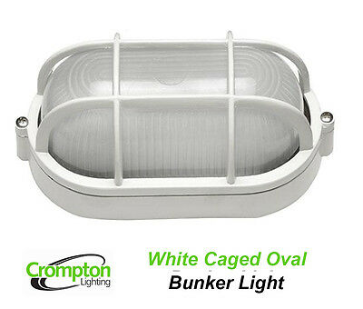 Crompton White Oval Caged Exterior Bunker Outdoor Light EX7100AW
