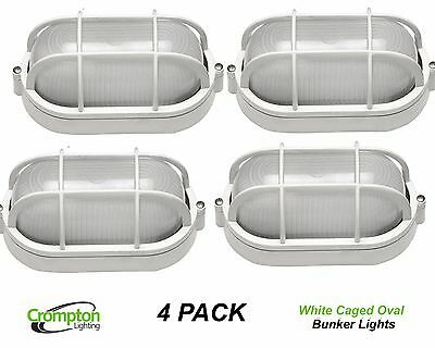 4 x White Oval Caged Exterior Bunker Outdoor Lights EX7100AW