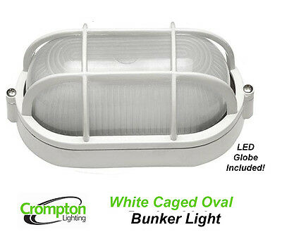Crompton LED White Oval Caged Exterior Bunker Outdoor Light EX7100AW